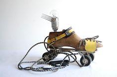Flying Roller Skate. Handcrafted vintage industrial Lamp