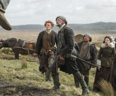 "Dougal (Graham McTavish), Jamie (Sam Heughan) and Claire (Caitriona Balfe) are on the road in Episode 105 ""Rent"" of Outlander on Starz 