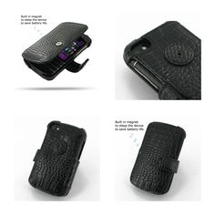 PDair Leather Case for BlackBerry Q10 - Book Type (BlackCrocodile Pattern)