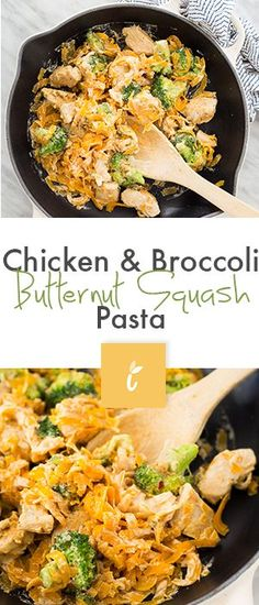 Chicken Broccoli Butternut Squash Pasta (omit chicken or use the fake stuff for vegan! Spiralized Butternut Squash, Squash Noodles, Chicken And Butternut Squash, Veggie Noodles, Chicken Broccoli, Vegetable Pasta, Zucchini Noodles, Zoodle Recipes, Spiralizer Recipes