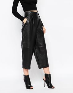 Oversized leather culottes