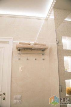 Интерьер современной ванной, полка для полотенец