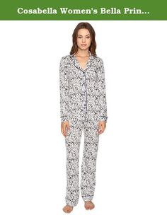 Cosabella Women's Bella Printed Long Sleeve Top Pants Set Smoky Grey/Marine Blue Pajama Set. Sophisticated, feminine style perfect for lounging. Supersoft pima cotton and modal pajama set with classic touches of satin binding at the chest pocket and lapel collar. Top: Notched collar. Long sleeves. Full button front. Left chest pocket. Straight hemline with split side seams. Pant: Relaxed fit. Elastic waist. 50% pima cotton, 50% modal. Hand wash cold, hang dry. Imported. Measurements…