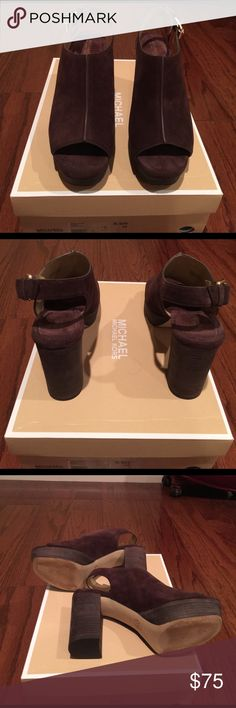 "MICHAEL Michael Kors Style Piper Sling Brown Suede Almost Brand New Brown Suede Open Toe Bootie with 4"" Block heel and 1"" platform. Great show for dress up or down💝💝💝 MICHAEL Michael Kors Shoes Platforms"