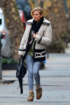 Sienna Miller New York City March 15, 2015 | Sienna Miller wearing Isabel Marant Nowles Boots, Thakoon Cornelia Duffle Bag and Isabel Marant Yosemite Knitted Alpaca-Blend Cardigan