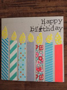 Verjaardagskaart met washi tape Homemade Birthday Cards, Homemade Cards, Making Greeting Cards, Greeting Cards Handmade, Easy Valentine Crafts, Washi Tape Cards, Paper Cards, Kids Cards, Creative Cards