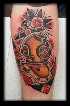Divers helmet tattoo