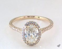james allen 14k yellow gold pave halo diamond engagement ring