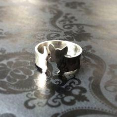 I seriously want this!  Argentium Silver Chihuahua Dog Ring. $62.00, via mooshygooshies on Etsy.
