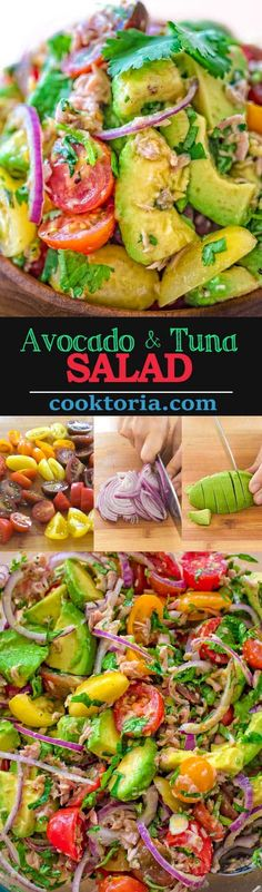 Very simple, flavorful, and tasty, this Avocado Tuna Salad requires just a few ingredients and 10 minutes of your time. Enjoy it for lunch or on the side with your favorite meal. Visit Cooktoria to get a printable recipe. Avocado Tuna Salad, Avocado Dessert, Avocado Salad Recipes, Best Salad Recipes, Tuna Recipes, Healthy Diet Recipes, Healthy Foods To Eat, Seafood Recipes, Avocado Toast