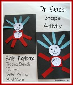 Dr Seuss Shape Activity With   Thing One and Thing Two from the Cat in the Hat