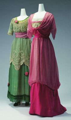 "Evening Dresses: ca. 1911, Left - Jeanne Lanvin, embroidered silk chiffon and tulle lace with rose ornaments, Right - silk tulle and silk chiffon embroidered with beads, faux pearls and metallic cord. ""...This [high-waisted] silhouette spread among designers, starting from Paul Poiret's ""Lola Montez"" dress in 1906. Distinctive, vivid colors on delicate materials such as silk chiffon were achieved in this period by use of synthetic dyes..."" by Banphrionsa"