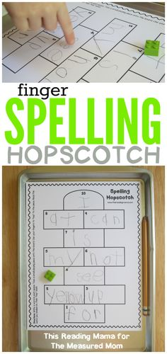Free spelling game for kids: Spelling Hopscotch! - The Measured Mom Spelling Games For Kids, Spelling Word Practice, 1st Grade Spelling, Teaching Sight Words, Sight Word Games, Spelling Activities, Sight Word Activities, Spelling Ideas, Spelling Centers