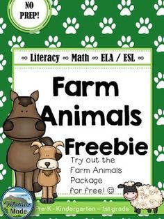 FREEBIE Farm Animals Vocabulary, Math and Literacy Package [ELA + ESL] [No Prep] This is a FREEBIE sample of the FULL Farm Animal Package. A selection of 10 pages from the available pages can be found in the sample. Farm Lessons, Preschool Lessons, Farm Animals Preschool, Farm Unit, Farm Activities, Math Literacy, Esl, Farm Theme, In Kindergarten
