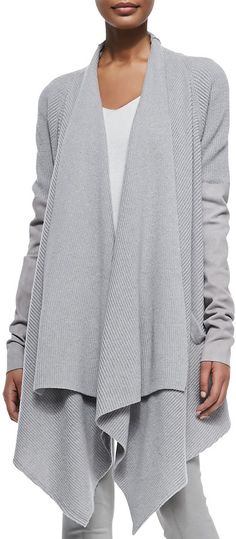 Donna Karan Donn Kn Cashmere Cozy Cardigan w/ Leather Sleeves on shopstyle.com