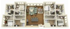 4 Bedroom + 4 Bathroom - The furniture provided in the actual unit may differ from what is pictured.