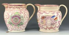 2 Sunderland Lustre Pitchers, Mariner & Crimea: Lot 104. This lot was sold for $325 at our May 18, 2013 auction.