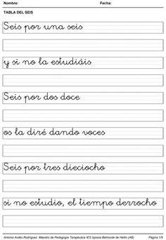 """Nuevas fichas de caligrafía con poemas propios, en esta ocasión se trata de dos documentos con tres fichas que contienen el poema completo para las tablas de multiplicar del seis y del siete en caligrafía. """"TABLA DEL SEIS"""" """"TABLA DEL SIETE"""" Relacionado"""