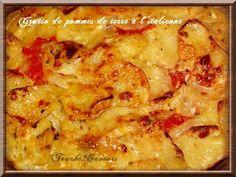 J'aime beaucoup les gratins : en général, ils ne sont pas très longs à préparer, on peut y mettre ce que l'on veut et surtout les enfants en rafollent... Aujourd'hui, je vous propose un gratin fondant, crémeux et savoureux...j'ai supprimé le beurre qui... A Food, Good Food, Food And Drink, Vegetable Side Dishes, Vegetable Recipes, Italian Recipes, Vegan Recipes, Italian Vegetables, My Best Recipe