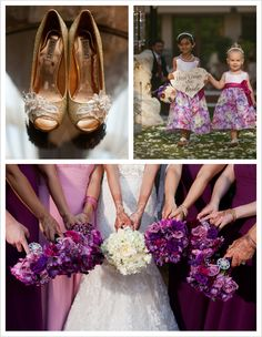 A perfect pairing of purple and pink creates a strong color combination for this real wedding. The bold purple keeps the pink from being too feminine.