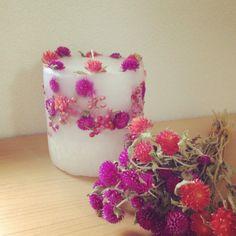 Candle with flowers I DIY candle I Bougie I Kerze I Ljus