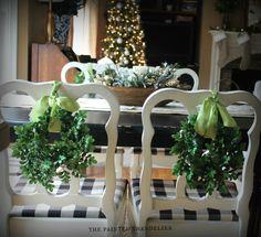 Christmas Home Tour 2013 - The Painted Chandelier Boxwood Wreath, Wreaths, Painted Chandelier, Christmas Home, Christmas Vignette, Seasonal Decor, House Tours, Seasons, Table Decorations