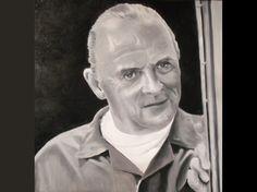 Portrait à l'huile noir et blanc Anthony Hopkins