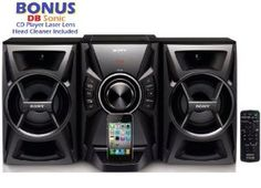 Sony 100 watts Hi-Fi Stereo Audio Sound System with iPod & iPhone Dock, CD Player, AM/FM Receiver with 30 Station Presets, Sleep Timer, Play Timer, DSGX Bass Boost, 7 Preset Equalizers, 2-way Bass Reflex Speakers, Alarm Clock, Child Lock & Remote Control with Full iPod/iPhone Menu *BONUS* DBsonic CD Player Lens Cleaner Included by Sony. $99.95. This Sony sound system is great for any room in the home or office. It has all the basic features, easy to use, just the right amount of...