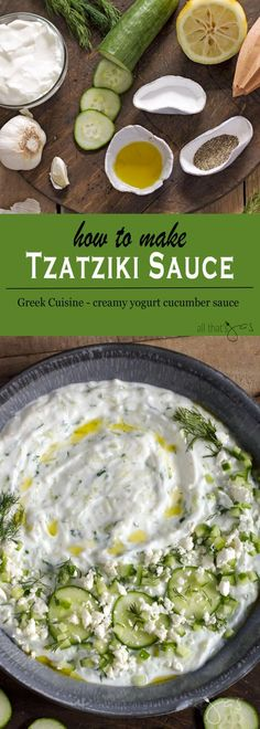 Delicious Greek sauce made with yogurt, cucumber, garlic, and dill is easy and quick to make and makes best summer BBQ condiment.
