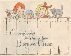 Vintage Art Deco birthday card children digital download printable image by BigGDesigns on Etsy