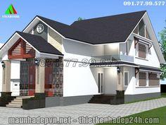 Thiết kế nhà cấp 4 có gác lửng 5 phòng ngủ hiện đại M12