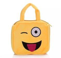 Mojoyce Girls Yellow Emoji Wink Eye Smiley Face Purse