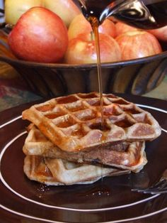 Spiced Apple Buttermilk Waffles #fall #breakfast #recipe - RecipeGirl.com