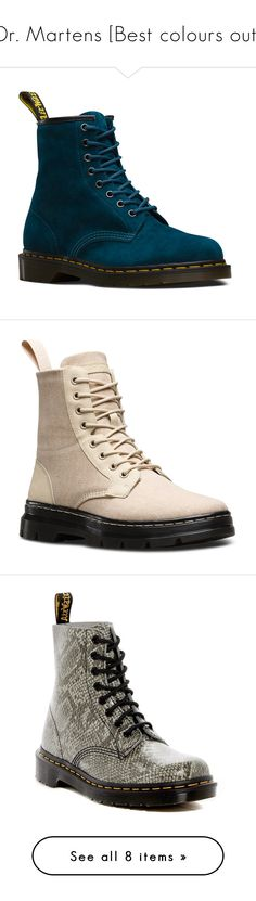 """""""Dr. Martens [Best colours out]"""" by marierabier ❤ liked on Polyvore featuring shoes, boots, blue, slip resistant shoes, genuine leather shoes, dr martens shoes, anti slip shoes, genuine leather boots, sand and canvas hiking boots"""