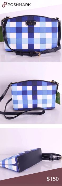 Kate spade Millie grove bag nwt Brand new very pretty crossbody from Kate spade. Blue pattern with zipper and inside compartments Bags Crossbody Bags