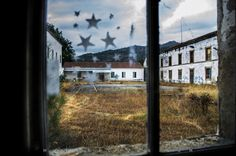 "SaoFielCourtyard0 #urbex #abandoned #photography #art #Portugal #hdr ""Stars, past signs of childs playing and graffiti, from more recent ""ga..."