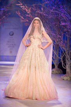 Gown by Jyotsna Tiwari at India Bridal Fashion Week 2014 Indian Bridal Couture, Indian Wedding Gowns, Indian Gowns Dresses, Indian Bridal Fashion, Indian Bridal Wear, Bridal Fashion Week, Pakistani Bridal, Pakistani Dresses, Bridal Gowns