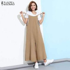 ZANZEA Fashion 2018 Summer Rompers Womens Jumpsuit Sexy Sleeveless Straps Wide Leg Playsuit Casual Loose Long Overalls Plus Size