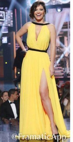 Chiquinquira delgado yellow dress, tv host, latina