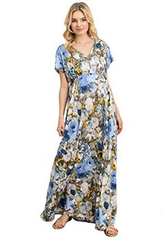 13bf35ac86cfd Womens Floral VNeck Empire Waist Maxi Maternirty Dress By Hello Miz Made In  USABlueLarge **