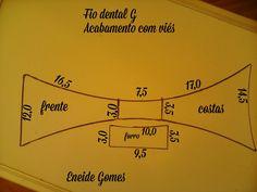 Aqui você encontra uma variedade de moldes pra confecção de peças íntimas e vestuário em geral. Calcinha fio dental G