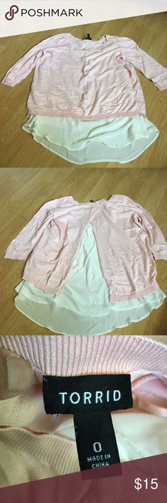 Torrid Light Pink Layered Hi Lo 3/4 Sleeve Top Worn a couple of times. True to size. Attached sheer cream cami. Slit open on back. Light sweater like material. torrid Tops Blouses