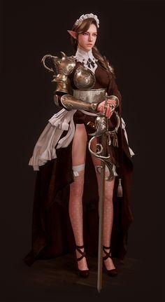 Maid Knight, Yeon-u Jang Fantasy Characters, Fictional Characters, 3d Girl, 3d Character, Fantasy World, Maid, Knight, Concept Art, Pin Up
