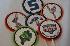 Rescue Bots Cupcake Toppers