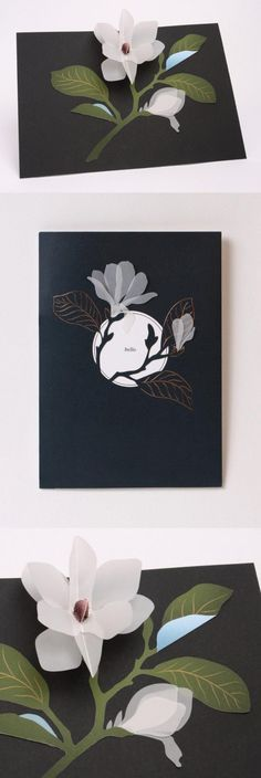 Translucent vellum creates a delicate magnolia spray that blooms as the card opens.