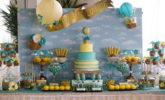 Dessert table at a hot air balloon baby shower birthday party! See more party ideas at CatchMyParty.com!