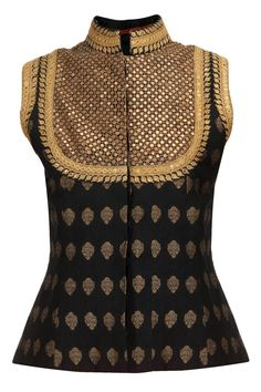 Black sequin embroidered brocade waistcoat available only at Pernia's Pop-Up Shop.