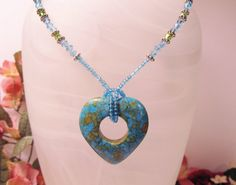 Turquoise Heart Pendant with Crystal Necklace by RomanticThoughts, $34.95