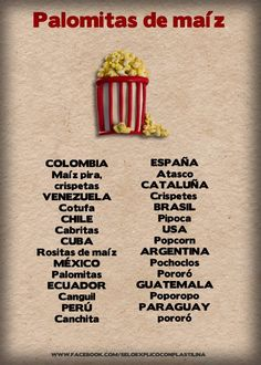 """Spanish Words for Popcorn. I love that """"palomitas de maíz"""" means """"little doves of corn"""" literally."""