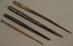 SUPERB GROUP x 4 RARE LARGE ROMAN BONE PINS AND NEEDLE LARGEST 123MM